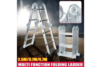 2.5/3.7/4.7m Multi-Purpose Extendable Ladder Telescopic Folding Climb Ladder Aluminium Alloy Double-Sided Workbenche