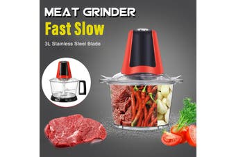 220V 3L Electric Meat Grinder Food Blender Chopper Household Processor Machine(With Handle(EU Plug))