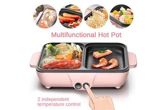 1200W Nonstick Multifunction Electric Cooking Pot Mini Cooker Baking Frying Hot Pot for Travel Hostel Household / Dormitory students / Office staff(pink)