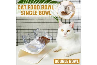 Fashion Cat Ears Cat Bowl Oblique Mouth Double Bowl Drinking Food Bowl -- 2 Bowl