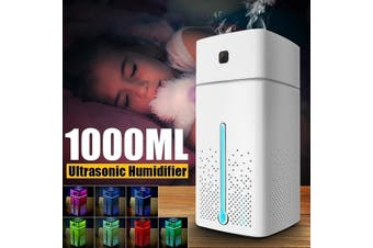 1000ml Ultrasonic Quiet Diffuser Humidifier Air Purifier 7 Color LED Lights USB