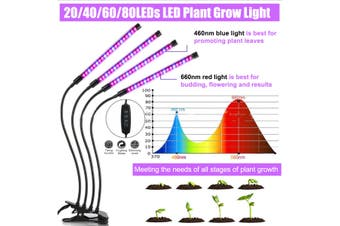 80LEDs Plant Flower Grow Light Plants Growing Lamp with Clip Indoor Hydroponics