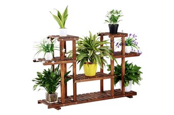 AUGIENB 4-Tier Corner Wood Flower/Plant Stand Shelving Rack Display Shelf Outdoor Yard Garden Patio Balcony Multifunctional Storage Rack