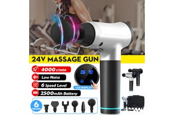 [6 Massage Head] 2500mAh 6 Speed Level Vibration Handheld Mesotherapy Machine Massage Gun With Portable Carrying Bag For Muscle Relax