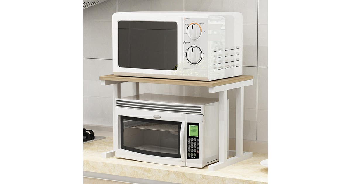 White 6 Hooks 2 Tier Microwave Kitchen Storage Shelf