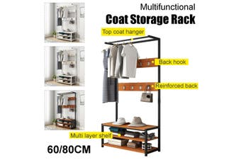 170cm Standing Coat Hat Rack Shelf Clothes Shoe Bench Bag Hanger Storage Holder(black,80x34x170cm)