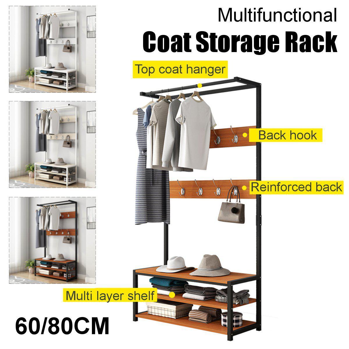 Picture of: 170cm Standing Coat Hat Rack Shelf Clothes Shoe Bench Bag Hanger Storage Holder Black 80x34x170cm Matt Blatt
