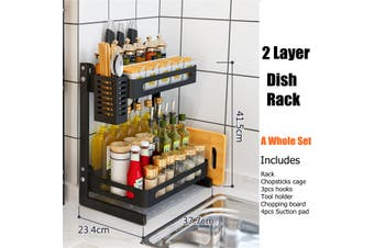 2 Tier Kitchen Spice Rack Stainless Steel Countertop Spice Jars Bottle Shelf (Full set 2 Layer)