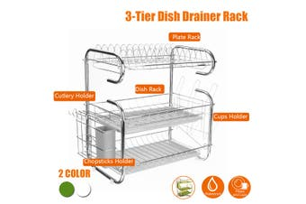 Multifunctional 3 Layer Tier Chrome Alloy Dish Drainer Cutlery Holder Rack Drip Tray Organizer Kitchen