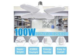 E27 Foldable Fan Four Blade Light Angle Adjustable Bulb Bright LED Ceiling