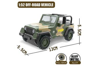 1:52 Military Vehicles Army Toy Assorted Metal Model Cars Tank Jeep Attack Helicopter Playset for Kids Toddlers (SUV Model )(Off-road vehicle)