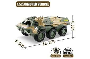 1:52 Military Vehicles Army Toy Assorted Metal Model Cars Tank Jeep Attack Helicopter Playset for Kids Toddlers (Military Armored Wehicle Model)(Armored car)