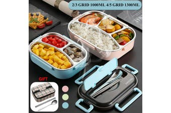 3Grid Stainless Steel Thermos Thermal Lunch Box With Bag Set Food Container Kids Adult Blue