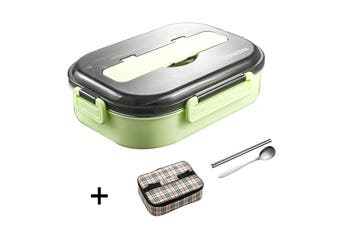 5Grid Stainless Steel Thermos Thermal Lunch Box With Bag Set Food Container Kids Adult Green