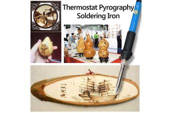 71PCS 60W Wood Burning Pen Tool Soldering Stencil Iron Craft LCD Pyrography Kit AU Plug