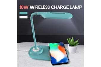 USB 10W LED Desk Table Lamp Study Light Touch Reading Qi Smartphone Wireless Charger(blue,1pc Desk Lamp)
