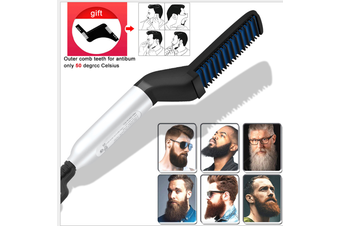 EU PlugDetachtable Professional Electric Hair Straightener Heating Quick Brush Styler Comb Brush Beard Straightener With Cable(Women & Men)