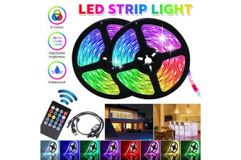 5/4/3/2/1m Music LED Strip Lights 5050 RGB USB LEDs Color Changing Kit Remote Controlled Waterproof/Non-waterproof for TV Backlight Living Room Bedroom Party