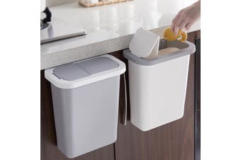 Cabinet Door Hanging Trash Can with Lid Garbage Bin Waste Storage Home Kitchen