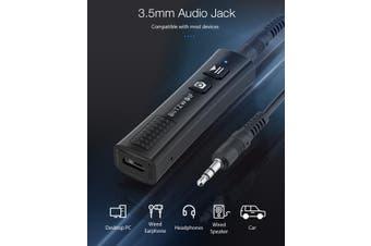 BlitzWolf BW-BR0 Wireless V5.0 USB Audio bluetooth Receiver 2 in 1 Mini Stereo Audio 3.5mm Jack For TV PC Car Kit Wireless Adapter - Black
