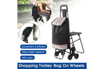 25kg Foldable Shopping Cart Portable Trolley Bag on Wheels with Chair Luggage -- Without chair / With chair