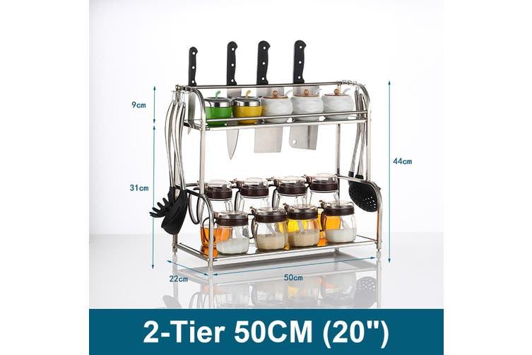 Spice Rack Organizer 2/3 Tier Rack Stainless Steel Spice Jars Bottle Stand Holder Kitchen Organizer Storage