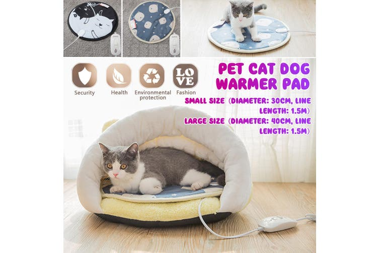 Round Pet Heating Pad 220V 20W 3-speed Thermostat Flat Two-plug Waterproof Cat Dog Warmer Pad