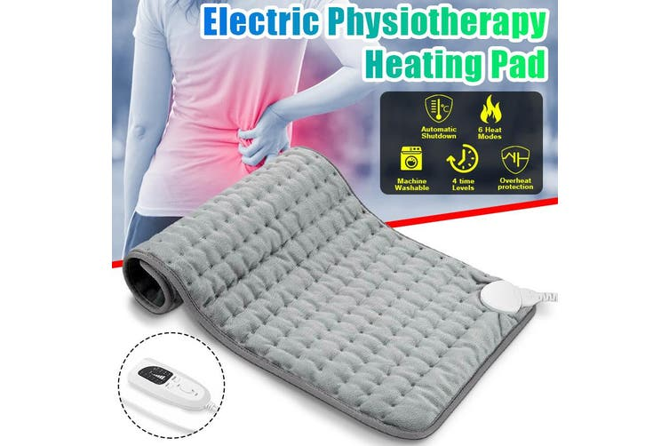 75 x 40cm Electric Heating Pad 6-Level Fast Moist/Dry Pain Relief Heat Mat Large Size
