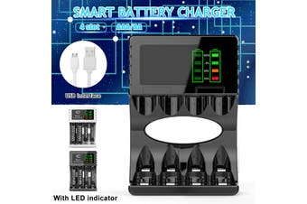 Black Portable 5V 1A 4 Slots USB Rechargeable Battery Charger Fast Charging For AA/AAA(black,LCD Display 92x63x26mm)