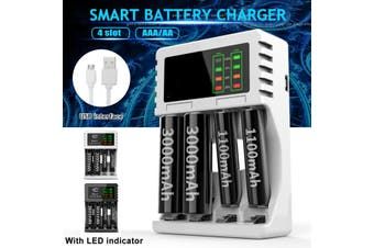 White Portable 5V 1A 4 Slots USB Rechargeable Battery Charger Fast Charging For AA/AAA(white,LCD Display 92x63x26mm)