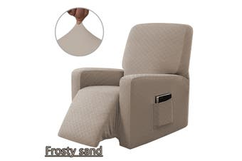 Stretch Recliner Chair Sofa Covers Washable Non-slip Waterproof w/ Side Pocket Frosty sand