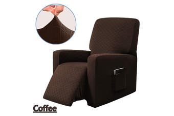 Stretch Recliner Chair Sofa Covers Washable Non-slip Waterproof w/ Side Pocket Coffee