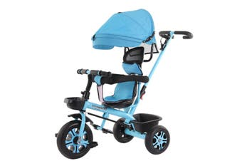 4-In-1 Baby Stroller Bicycle Kids Adjustable Bike Learning Toy W/ Canopy Basket Blue
