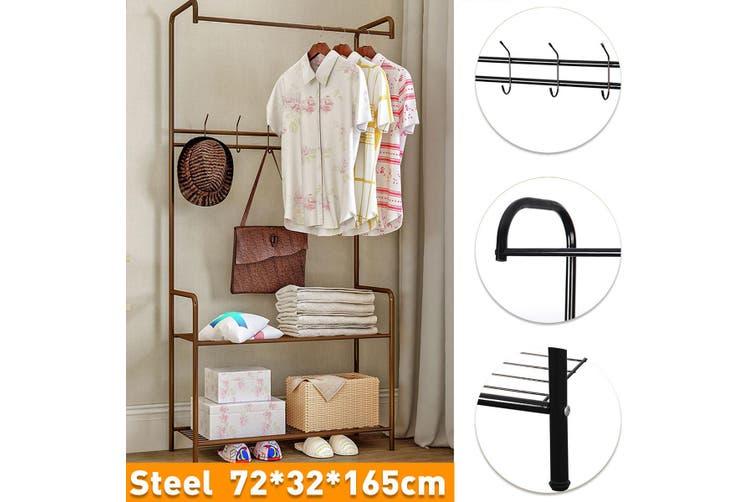 Coat Rack Floor Standing Clothes Hanging Storage Shelf Bedroom Furniture Stand -- Black / Bronze