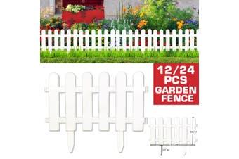 12/24 Pcs Wooden Garden Fencing White Plastic Tree Fence Courtyard Indoor Garden Fence Kindergarten Flower Garden Vegetable White Decor 30*50cm(Type C 12 Pcs)