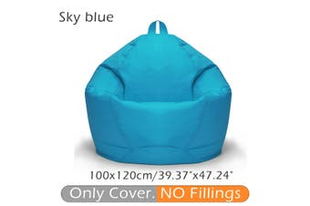 100*120CM 10 Colors Stylish Flannelette Bean Bag Sofa Cover Lounger Chair Sofa Seat Living Room Furniture Without Filler Beanbag Sofa Bed Pouf Puff Couch Cotton Chair Cover Only Cover (No Filling)(skyblue,Sky Blue)
