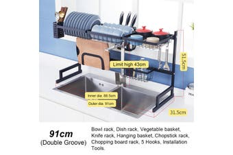 91cm Stainless Steel Dish Rack Over The Sink Dish Drying Rack Holder