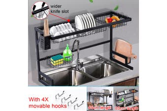 65/85CM Over Sink Dish Drying Rack Stainless Steel Kitchen Cutlery Shelf Holder
