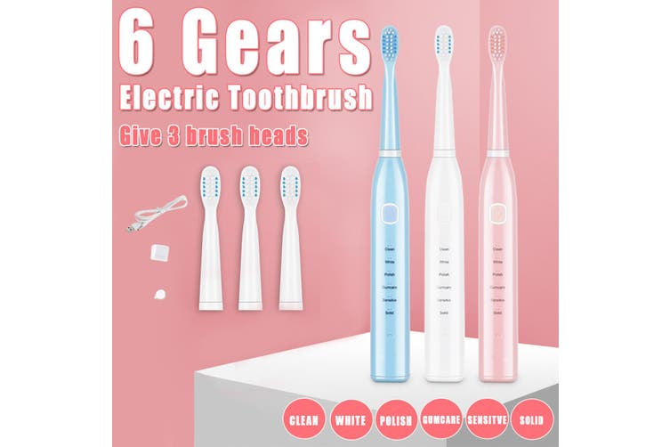 6 Gears Electric Toothbrush Powerful USB Charge Whiten & Polish + 4 Brush Heads