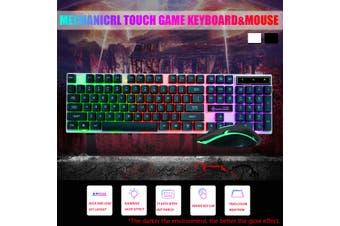 Rainbow Backlit LED Keyboard Wired PC 104 Keys Gaming Keyboard Mouse Set(black,without Headphone)