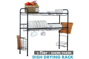 AUGIENB Stainless Steel Sink Dish Drying Rack 2-Tier Dish Drainers Length Adjustable Drain Rack Double-layer Full Set for Kitchen Counter - Black 80/90cm