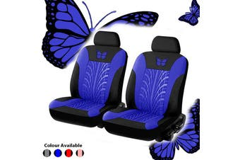 4-piece Set Beautiful Butterfly Universal Car Seat Cover Fabric Special Craft Dirt-resistant Wear-Resistant Washable Four Season Use(blue)