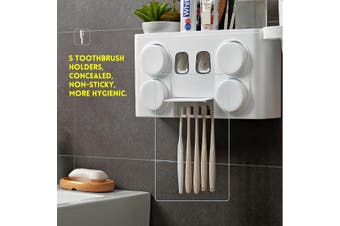5 Holder 4 Cup Handfree Toothbrush Holder Automatic Toothpaste Dispenser Set