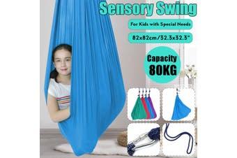 Soft Sensory Swing Snuggle Hammock Swing for Autism ADHD ADD Cuddle Up to 80KG Kids(blue)