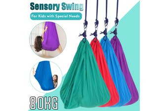 Soft Sensory Swing Snuggle Hammock Swing for Autism ADHD ADD Cuddle Up to 80KG Kids(green)