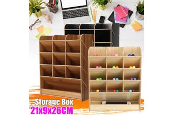 Wooden Desk Pen Holder Box Office Desktop Stationary Storage Rack with Drawer