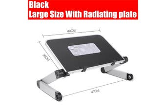 (40x26cm) Portable 360° Adjustable Aluminum Laptop Stand Desk Table With Adjustable Stand With Radiator Plate Mouse Board Ergonomic Design for Using In Bed,Sofa Carpet Gifts -- Black