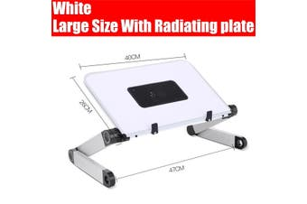 (40x26cm) Portable 360° Adjustable Aluminum Laptop Stand Desk Table With Adjustable Stand With Radiator Plate Mouse Board Ergonomic Design for Using In Bed,Sofa Carpet Gifts -- Black / White (white,With Radiating Fan)