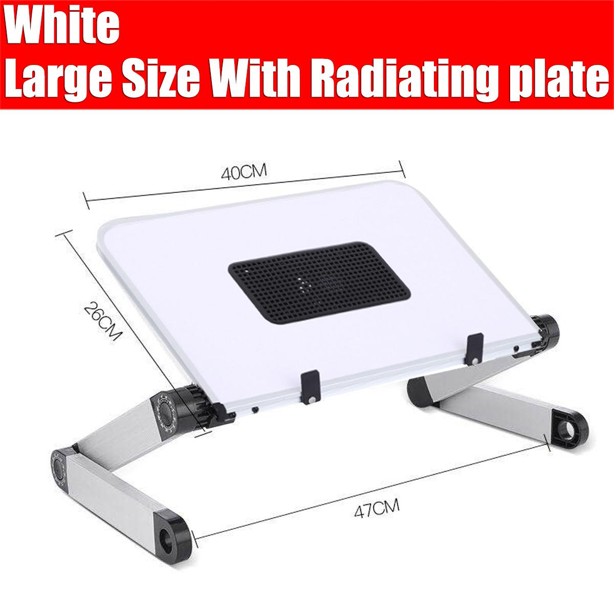 40x26cm Portable 360 Adjustable Aluminum Laptop Stand Desk Table With Adjustable Stand With Radiator Plate Mouse Board Ergonomic Design For Using In Bed Sofa Carpet Gifts Black White White With Radiating Fan