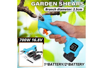 700W 25mm Electric Pruning Shear Li-ion Secateur Garden Branch Cutter 2Batteries(blue)